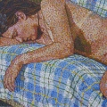 2003, Sleep (Nude on checks)   Acrylic on canvas, 540mm x 900mm